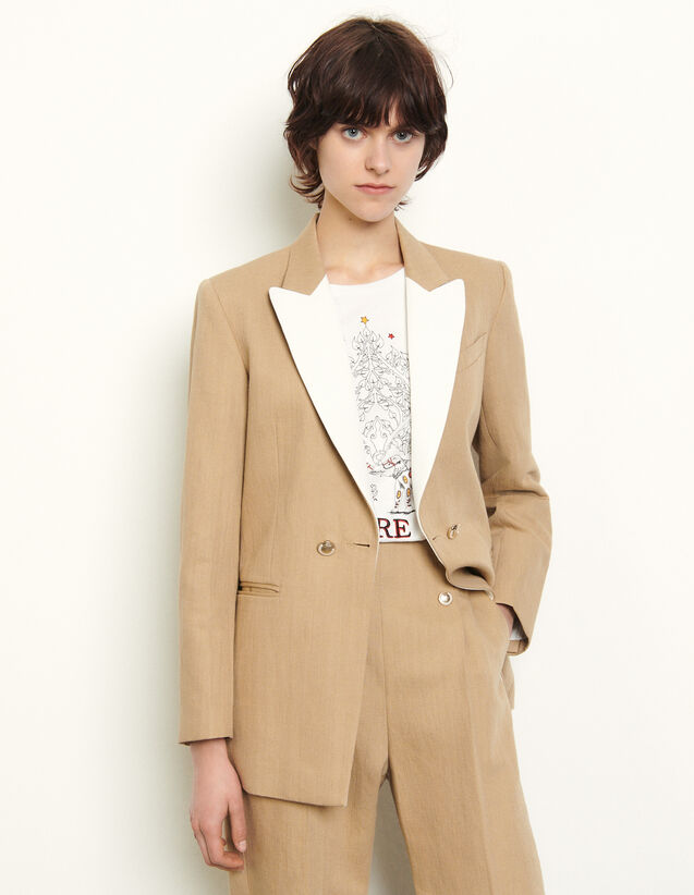 Tailored Jacket With Contrasting Lapels : Blazer & Jacket color Camel