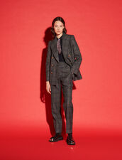 Checked Straight-Cut Trousers : Pants color Charcoal Grey
