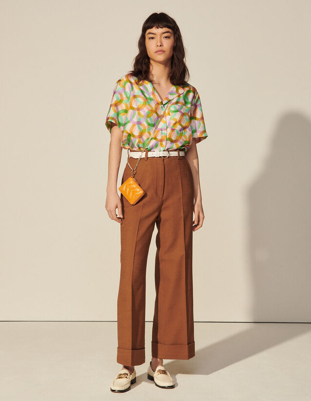 High-Waisted Trousers With Wide Turn-Ups : Pants color Caramel