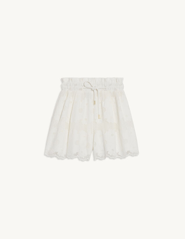 Lace Shorts With Embroidery : Skirts & Shorts color white