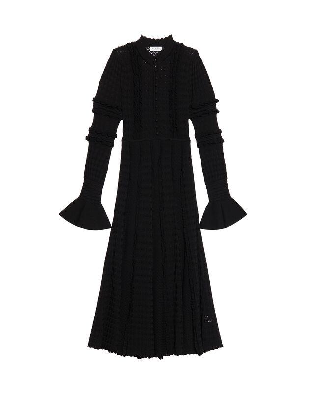 Long Pointelle Knit Dress : Dresses color Black