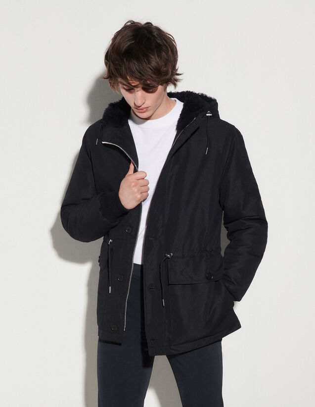 Mid-Length Parka With Sheepskin Hood : Trench coats & Coats color Black