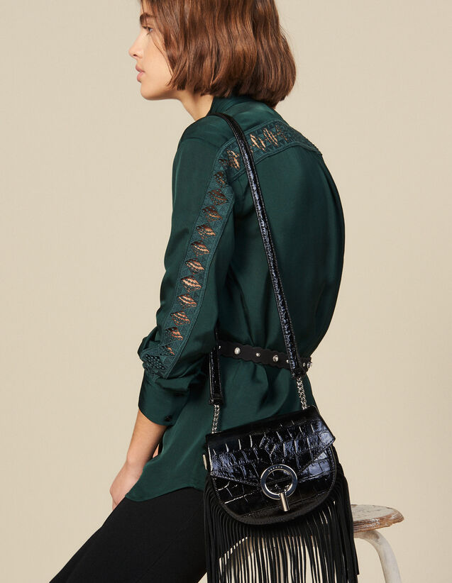 Blouse With Lace Inset : Shirts color Green