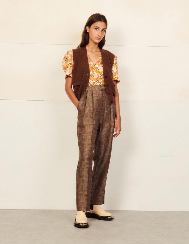Short-Sleeved Printed Silk Top : Tops color Ecru