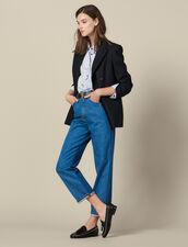 Two-Tone Mom Jeans : Jeans color Bleu Denim