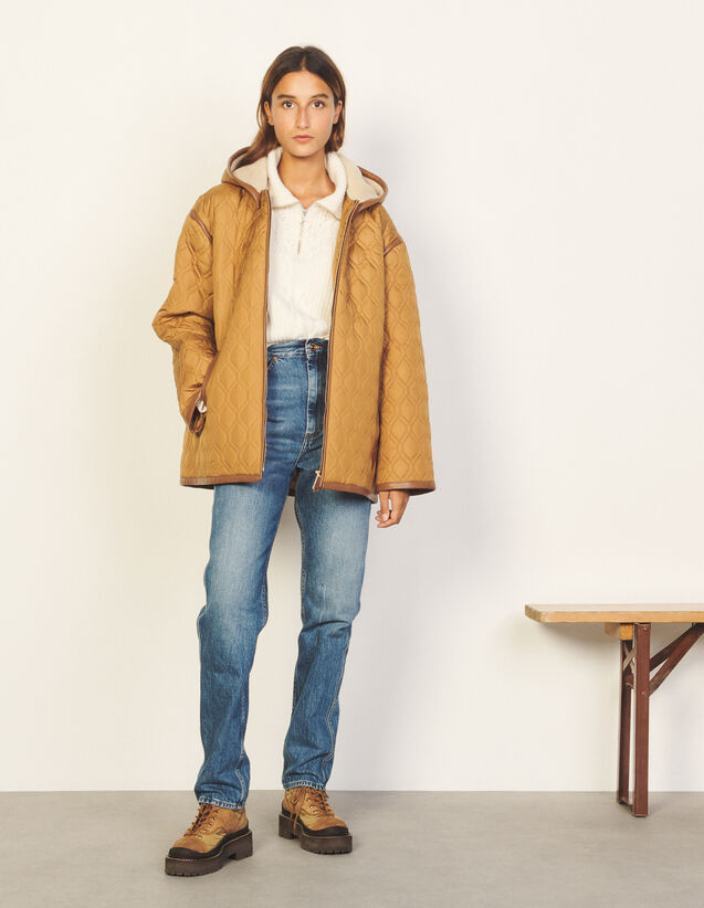 Padded Coat With Hood : Coats color Beige