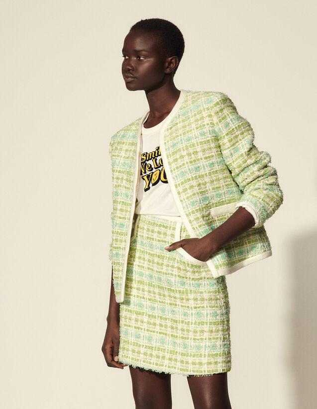 粗花呢撞色饰边短外套 : Blazer & Jacket color White / Green