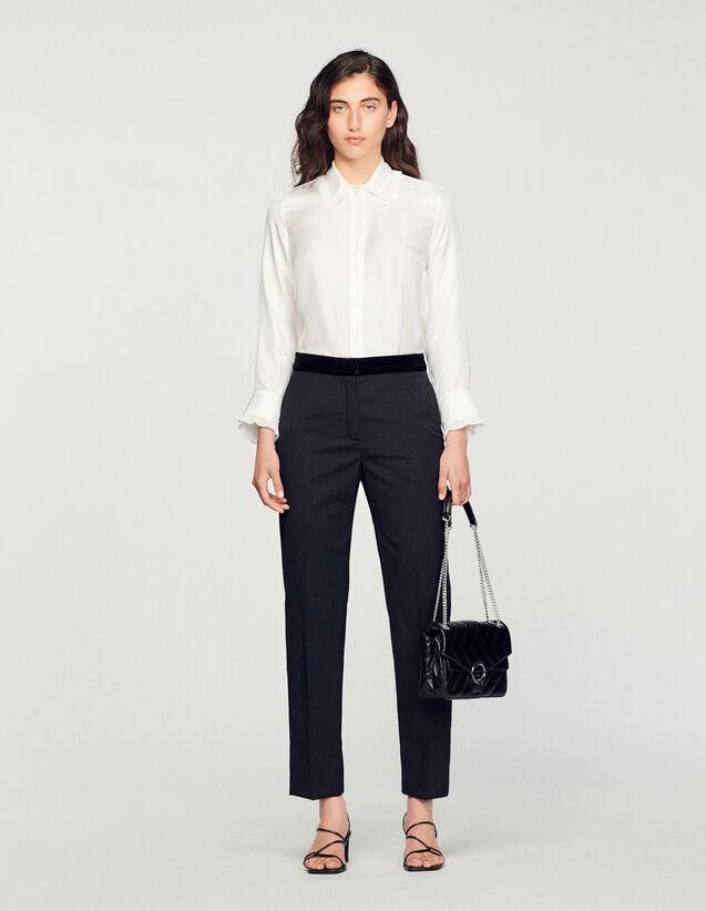 Silk Shirt With Pleated Trim : Shirts color Ecru