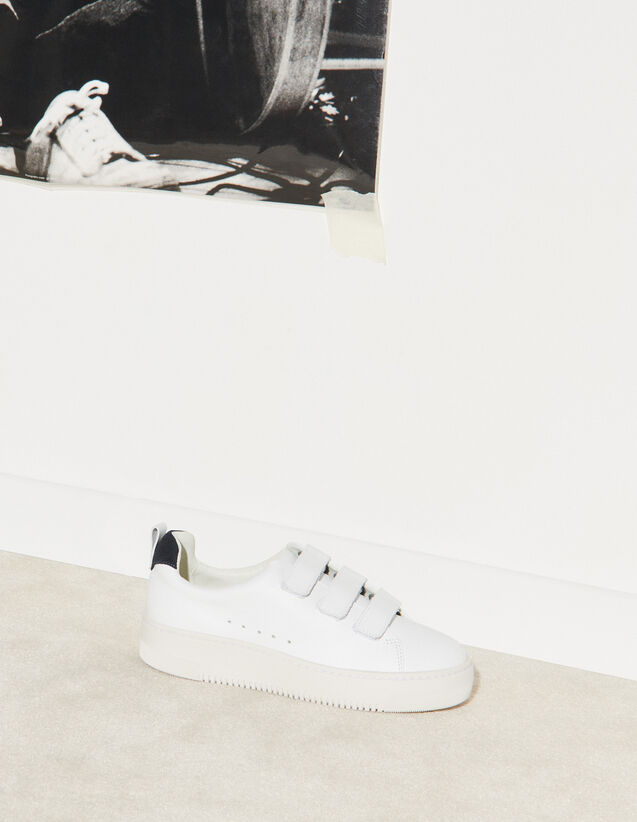 Leather Velcro Trainers : Trainers color white
