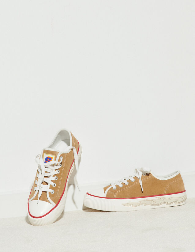 Suede Trainers With Flame Sole : Trainers color Beige