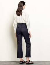 Straight-Leg Trousers With Pleats : Pants color Navy Blue