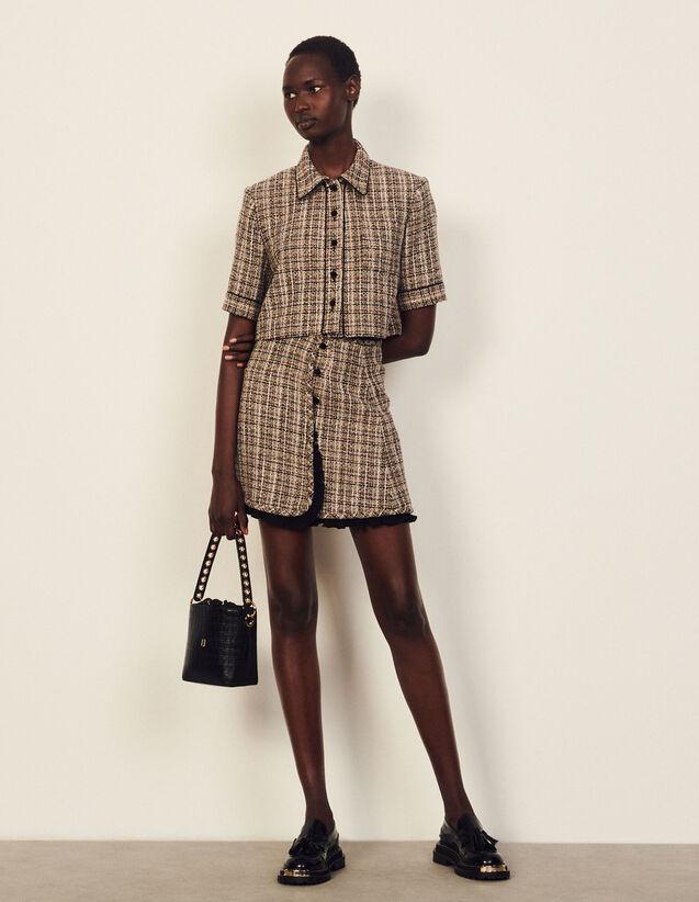 Short Tweed Skirt : Skirts & Shorts color Beige / Purple