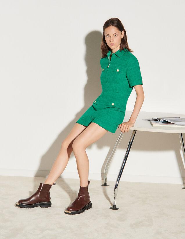Zip-Up Tweed Playsuit : Jumpsuits color Emeuraude Green