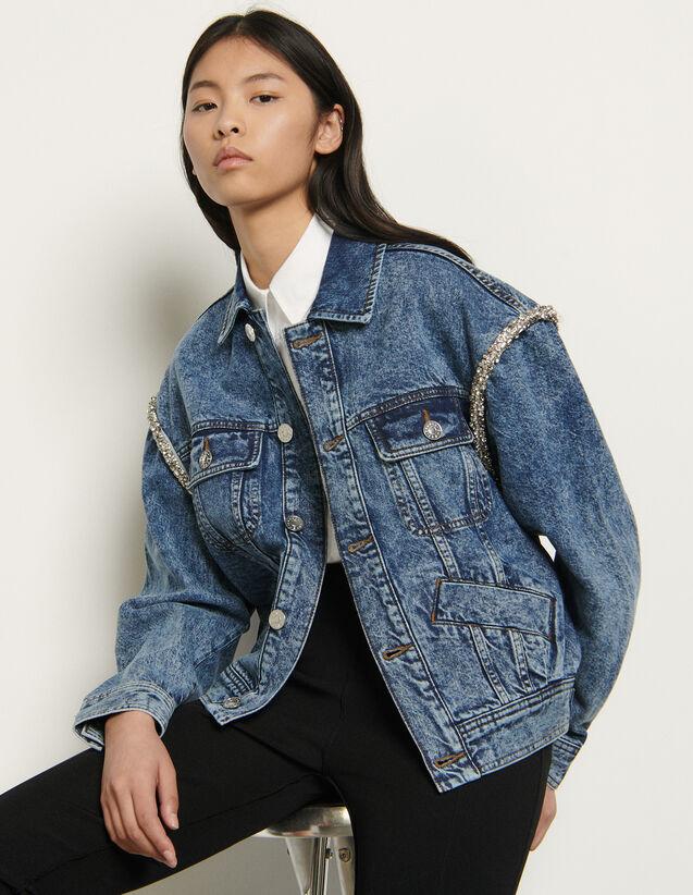 Denim Jacket Finished With Rhinestones : Blazer & Jacket color Blue Jean