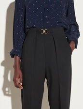 High-Waisted Fitted Trousers : Pants color Black
