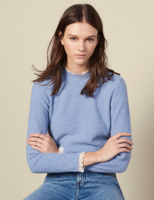 Pointelle Knit Sweater Trimmed With Lace : Sweaters & Cardigans color Blue sky