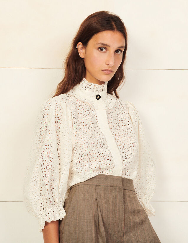 Broderie Anglaise Shirt : Shirts color white