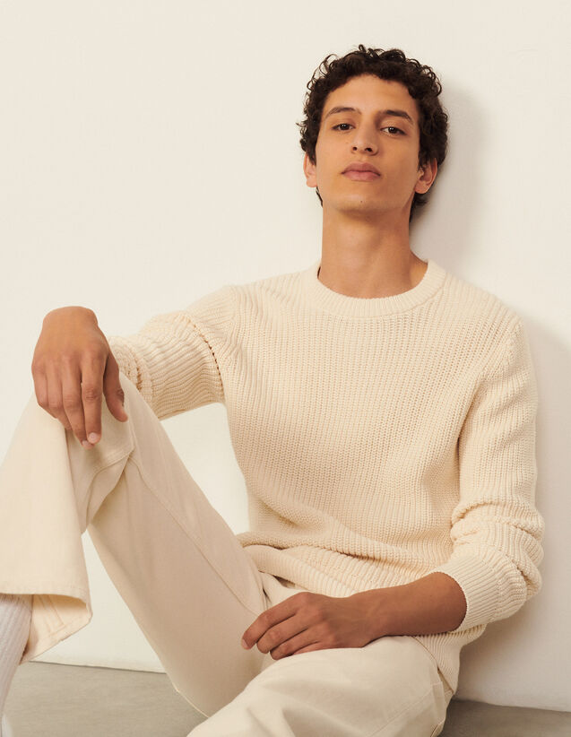 Cotton And Silk Sweater : Sweaters & Cardigans color Ecru
