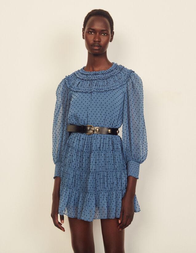 Short Draped And Ruffled Dress : Dresses color Blue