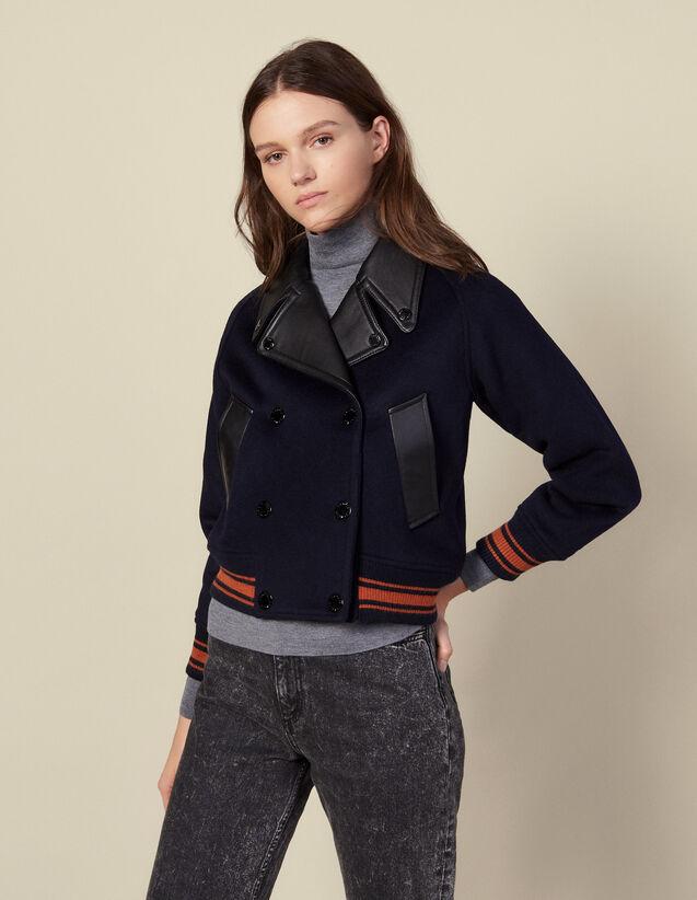 Cropped Wool Jacket : Blazer & Jacket color Navy Blue