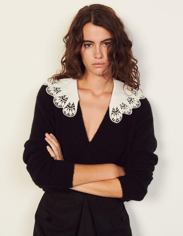 Poplin Collar Sweater : Sweaters & Cardigans color Black
