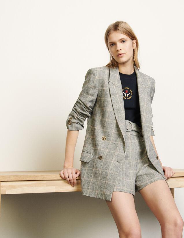 Checked Blazer : Blazer & Jacket color Grey/ Beige