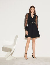 Knit Dress With Dotted Swiss Sleeves : Dresses color Black