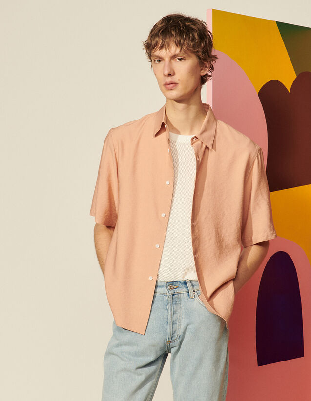 Floaty Short-Sleeved Shirt : Shirts color Peach pink