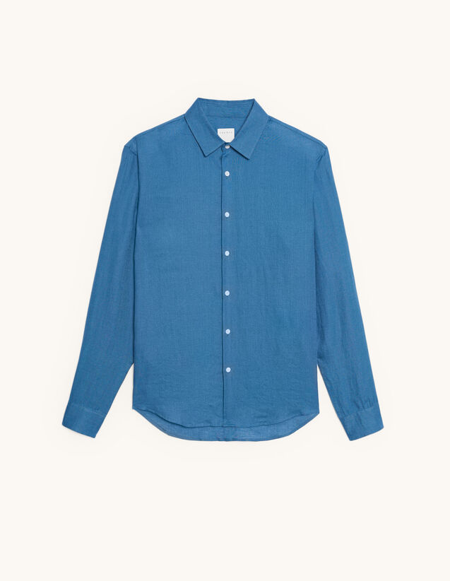 Long-Sleeved Linen Shirt : Shirts color Blue