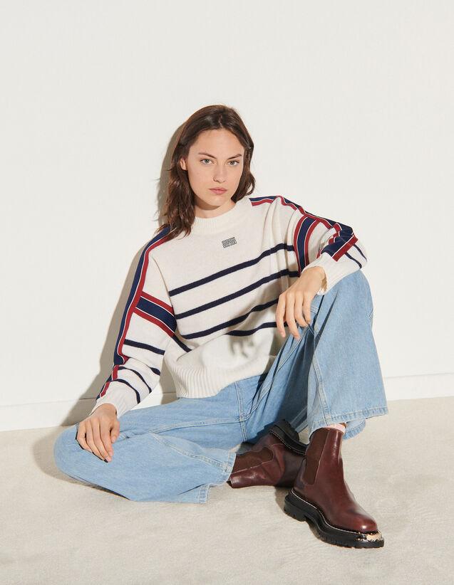 Sailor-Striped Sweater : Sweaters & Cardigans color Ecru / Black