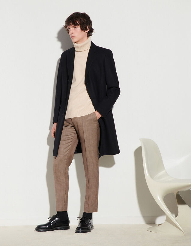 Long Coat Fastened With Three Buttons : null color Beige