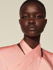 Long Dress With Draped Neckline : Dresses color Pink