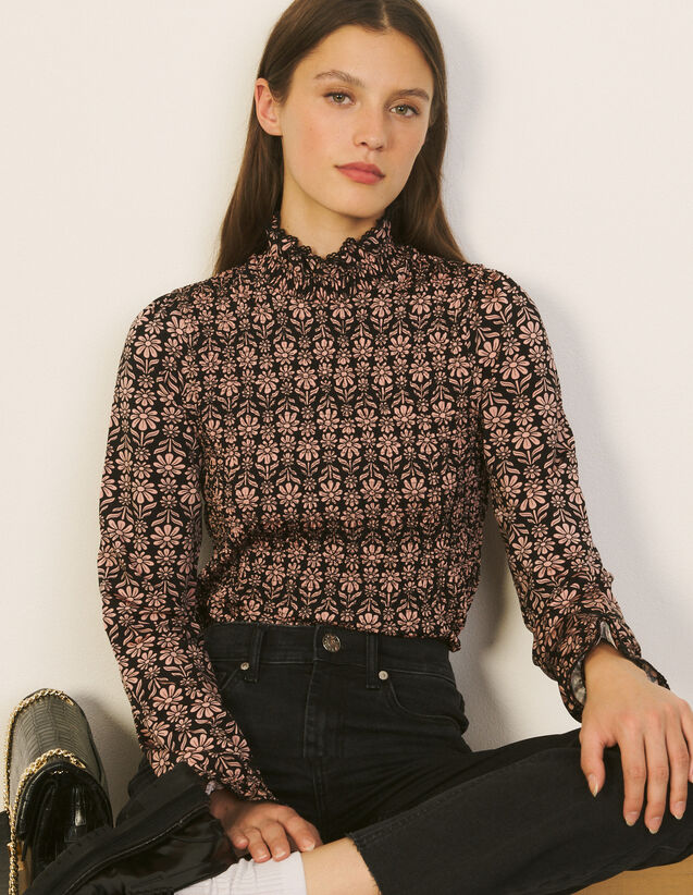 Printed T-Shirt With Smocking : T-shirts color Black / Pink