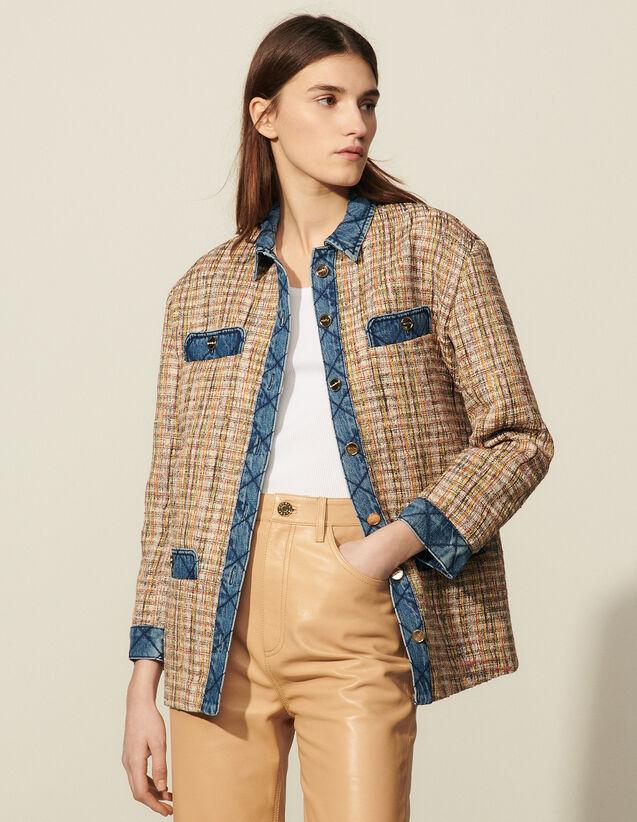 Tweed Jacket With Denim Inserts : Blazer & Jacket color Multi-Color