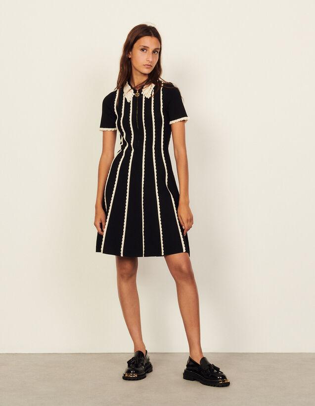 Two-Tone Knit Dress : Dresses color Black