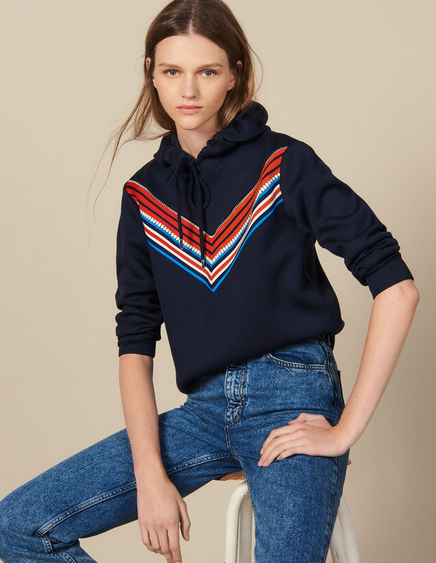 Sweatshirt With Striped Trim : Tops color Navy Blue