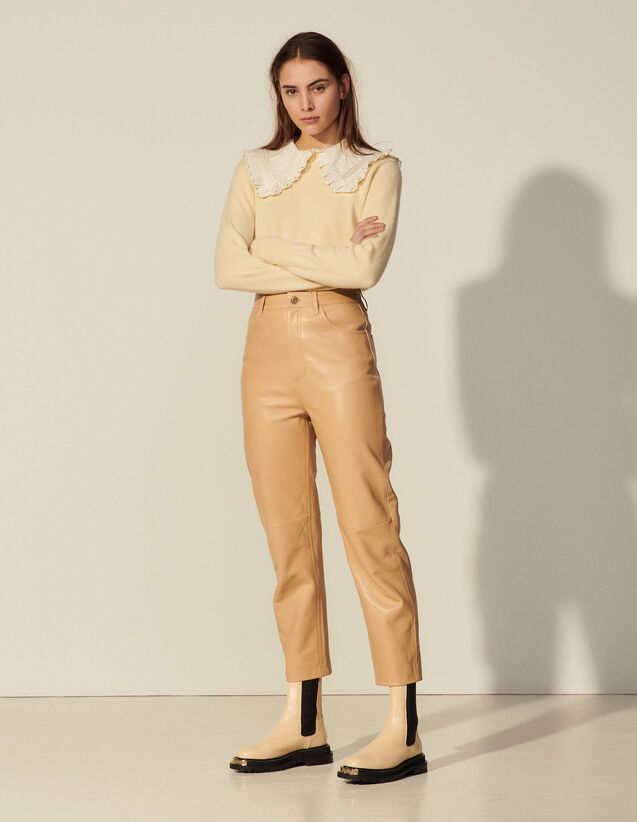 Mom Fit Leather Trousers : Pants color Sand