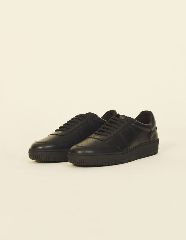 Leather Trainers : Shoes color Black