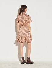 Printed Dress With Tie Collar : Dresses color Beige / Bordeaux