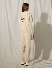 Zipped Hoodie With An Embroidered Back : Tops color Mocked Grey