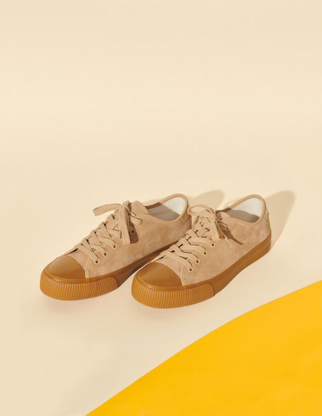 Split Leather Low-Top Trainers : Shoes color Beige