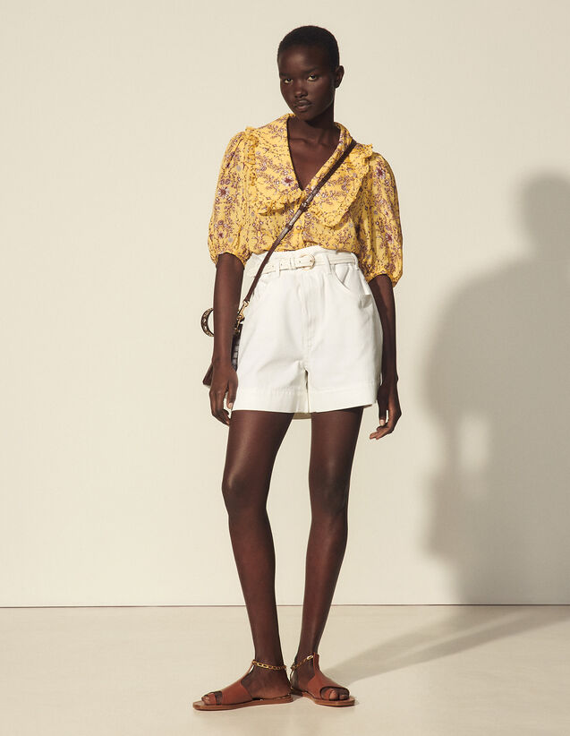Zip Front Shorts : Skirts & Shorts color white