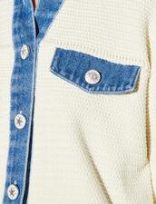 Crochet And Denim Cardigan : Sweaters & Cardigans color Ecru