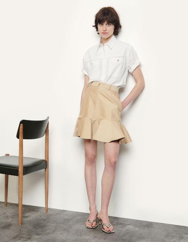 Cotton Gabardine Short Skirt : Skirts & Shorts color Beige