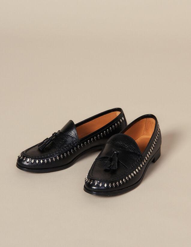 Crinkled Leather Loafer With Tassels : Shoes color Black