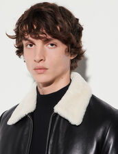 Leather Jacket With Sheepskin Collar : Trench coats & Coats color Black