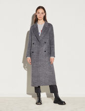 Double-Breasted Wool Coat : Coats color Mixed grey