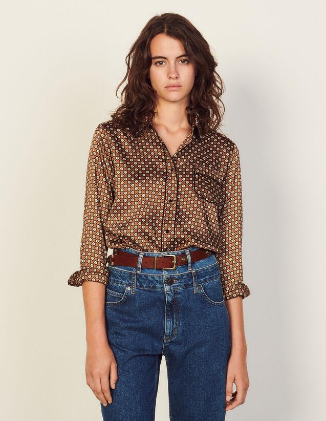 Printed Pyjama Shirt : Shirts color Brown / Black