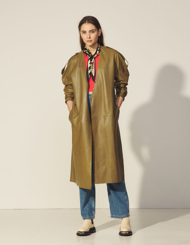 Leather Trench Coat : Coats color Olive Green