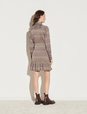 Short Printed Dress With Long Sleeves : Dresses color Blanc / Marron
